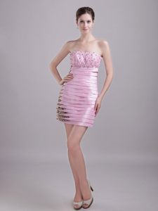 Cute Baby Pink Short Prom Homecoming Dress with Leopard Print