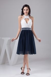 White and Navy Blue Halter Prom Cocktail Dress with Sector Front