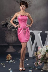 Beading and Ruching Accent Mini Prom Gown Dress in Hot Pink