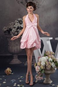 Pick-Ups and Bowknot Accent Pink Halter Prom Gown Dress in NC
