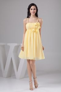 Ruched and Floral Prom Gown Dress in Light Yellow to Mini-length
