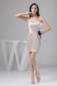 Champagne Mini-length Prom Gown Dress with Ruching and Flower