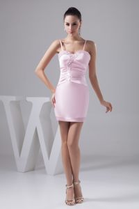 Beading Ruched Spaghetti Straps Prom Evening Dress in Baby Pink