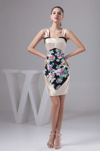 Multi-Colored Printing Fabric and Straps for Prom Evening Dress