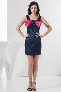 Scoop Neckline Navy Blue Prom Dress with Bowknot and Mini-length