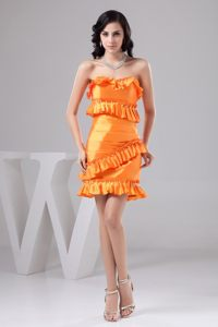 Orange Prom homecoming Dress with Beading and Ruching