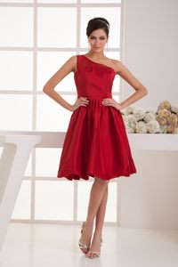 A-line One Shoulder Beaded Wine Red Prom Dress to Knee-length