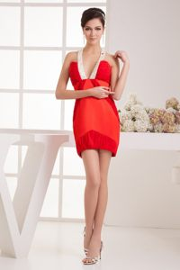 Red Short Prom Gowns for Girls with Straps Twisted in Cool Back