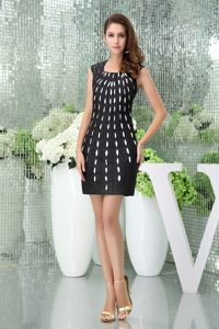 U Neck for Black Prom Gown Dress with White Polka Dot in FL