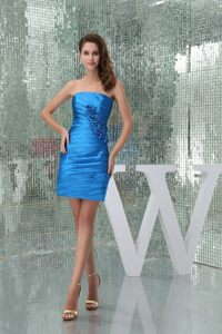 Blue Ruched Prom Dress with Hand Made Flower Crossed Waist