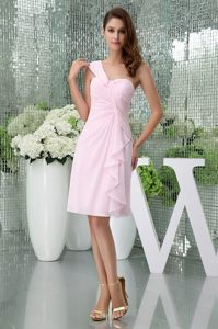 One Shoulder for Baby Pink Ruched Prom Dress to Knee-length