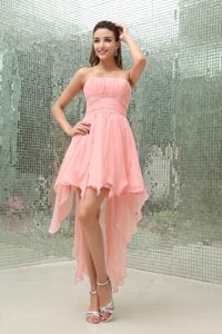 Strapless Baby Pink Beaded Prom Dress with Asymmetrical Ruffles