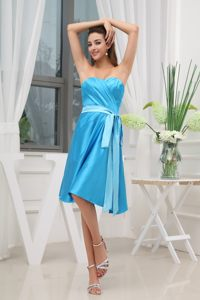 Blue Knee-length Sweetheart Ruche Sashed Prom Dress in New York