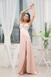 Light Pink Beaded Straps Brush Train Prom Gown with High Slit