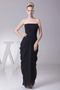 Black Column Ruching Prom Formal Dress Accent for Draping Fabric