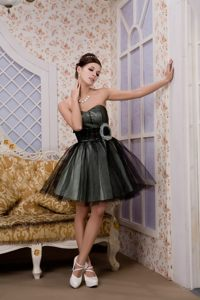 Short Tulle Black Mini-length Prom Dress with Hand Made Flower