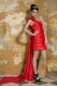 One Shoulder Watteau Train Red formal Prom Dress with Flowers