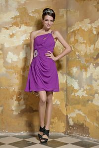 Chiffon Lavender One Shoulder Mini-length Prom Dress for Girls