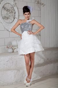 Mini-length White One Shoulder Beaded Prom Gowns with Pick-ups