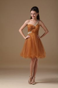 One Shoulder Brown Mini-length A-line Organza Beaded Prom Dress