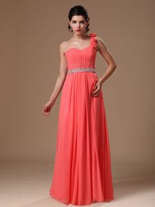 Watermelon One Shoulder Dresses for Prom Princess Beading Waist
