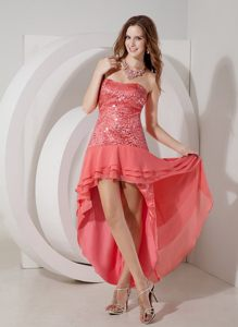 Latest Watermelon High-low Sweetheart Prom Graduation Dress Sequin