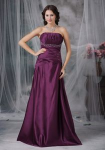 Dark Purple Beaded and Ruched Prom Cocktail Dresses Lace up Back