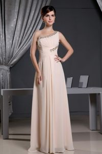 Cheap Floor-length Chiffon Beaded Prom Holiday Dress One Shoulder