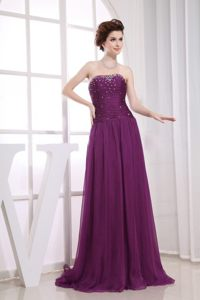 Brand New Chiffon Prom Bridesmaid Dress Sweep Train with Beading
