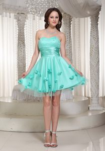 Tasty Flowers Decorated Prom Bridesmaid Dress Sweetheart Mini-length