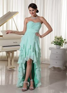 Fashionable Multi-tiered Prom Party Dress Beaded Sweetheart High-low