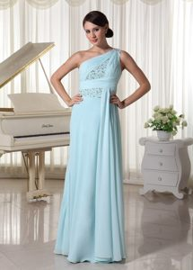 Impressive Chiffon Prom Celebrity Dresses One Shoulder with Beading