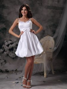 Lovely Mini-length Prom Evening Dress Sheer Neck with Bow in White