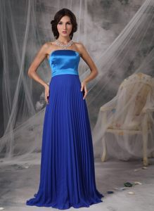 Custom Made Chiffon Strapless Prom Cocktail Dress Pleat Royal Blue