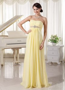 Tasty Empire Strapless Beaded Prom Bridesmaid Dress in Light Yellow