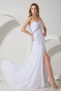 Chiffon White Prom Dresses Beaded One Shoulder with Slit on the Side