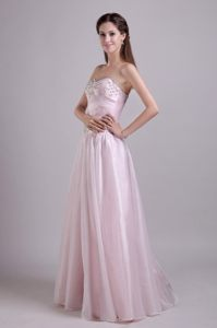 Beaded Baby Pink Floor Length Prom Theme Dresses of Lace-up 2014