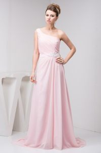 Light Pink One Shoulder Prom Theme Dresses with Court Train 2014