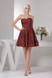 Ruched Burgundy Mini Prom Theme Dresses with Slot Neckline 2014