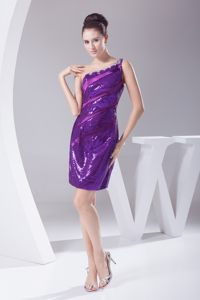Beaded Purple One Shoulder Prom Nightclub Dress Sequins Over Skirt