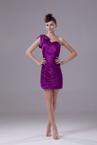 Eggplant Purple Column One Shoulder Prom Cocktail Dress Ruches