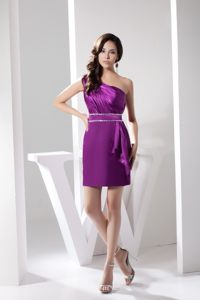 Ruching Beading One Shoulder Prom Bridesmaid Dress in Eggplant Purple