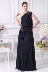 Navy Blue One Shoulder Chiffon Prom Maxi Dress with Beading 2014