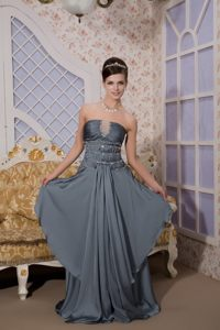 Gray Strapless Brush Train Prom Maxi Dress with Beading Ruches