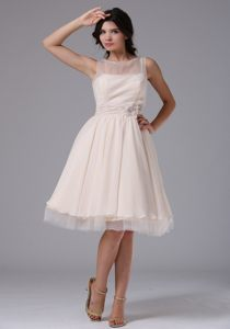 Flower Accent Bateau Cream Colored Chiffon Prom Pageant Dresses