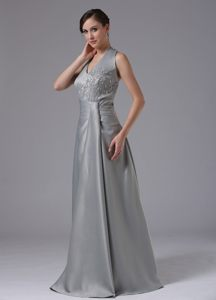 Gray Halter Floor Length Prom Pageant Dresses with Appliques