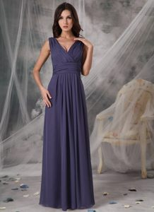 Purple Empire V-neck Ruched Prom Pageant Dress of Floor Length