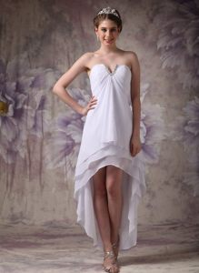 White Chiffon High-low Prom Homecoming Dresses of Slot Neckline