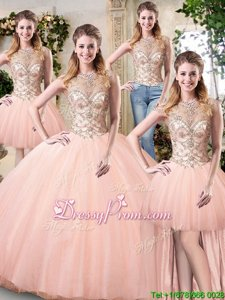 Best Selling Peach Quinceanera Dress Military Ball and Sweet 16 and Quinceanera and For withBeading Scoop Sleeveless Lace Up