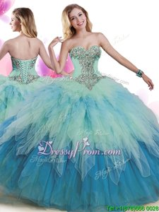 Enchanting Multi-color Lace Up Sweet 16 Dress Beading and Ruffles Sleeveless Floor Length